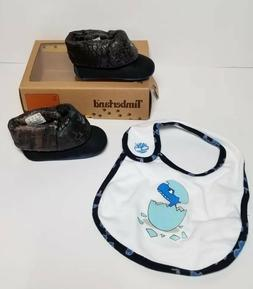 TIMBERLAND INFANT BOOTIES / BIB  SET SIZE 2  NEW IN BOX 4380
