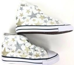 Converse Infant Shoes White with Gold and Silver Stars 9a 17
