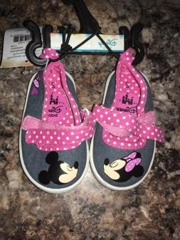 Disney Infant Size 2 Mickey And Minnie Mouse Shoes And Flip