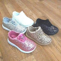 Infant Toddler Girls Sneakers Glitter Tennis Shoes Size 5-9