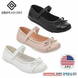 DREAM PAIRS Girls Kids Flat Shoes Casual Dress Shoes Bow Kno