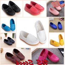 Kids Boys Girls Slip On Leather Flat Loafers Casual Soft Bab
