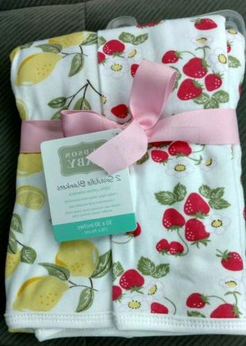 2 baby swaddle blankets lemons strawberries girls