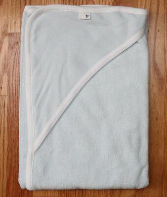 """Burt's Bees Baby 2 Ply Hooded Towel ~ Blue & White ~ 29"""" x 2"""