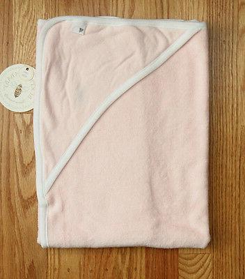 """Burt's Bees Baby Girl 2 Ply Hooded Towel~Pink & White~ 29"""" x"""