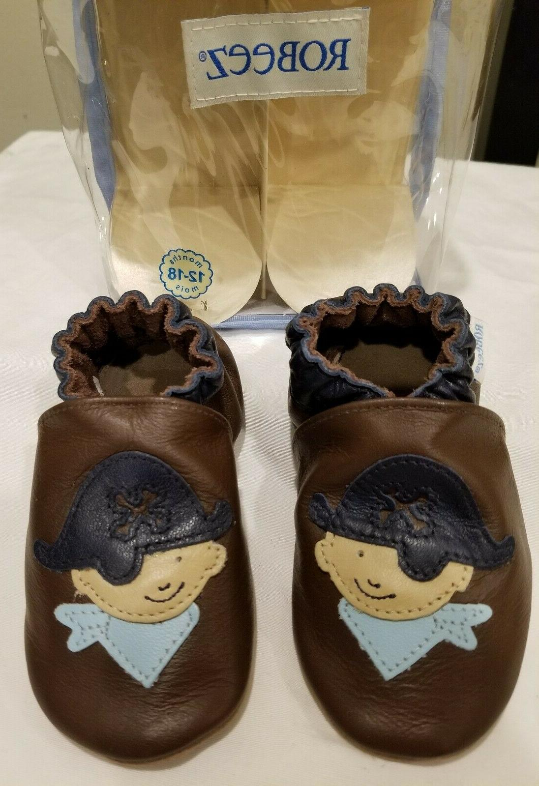 baby boy pirate brown soft sole shoes