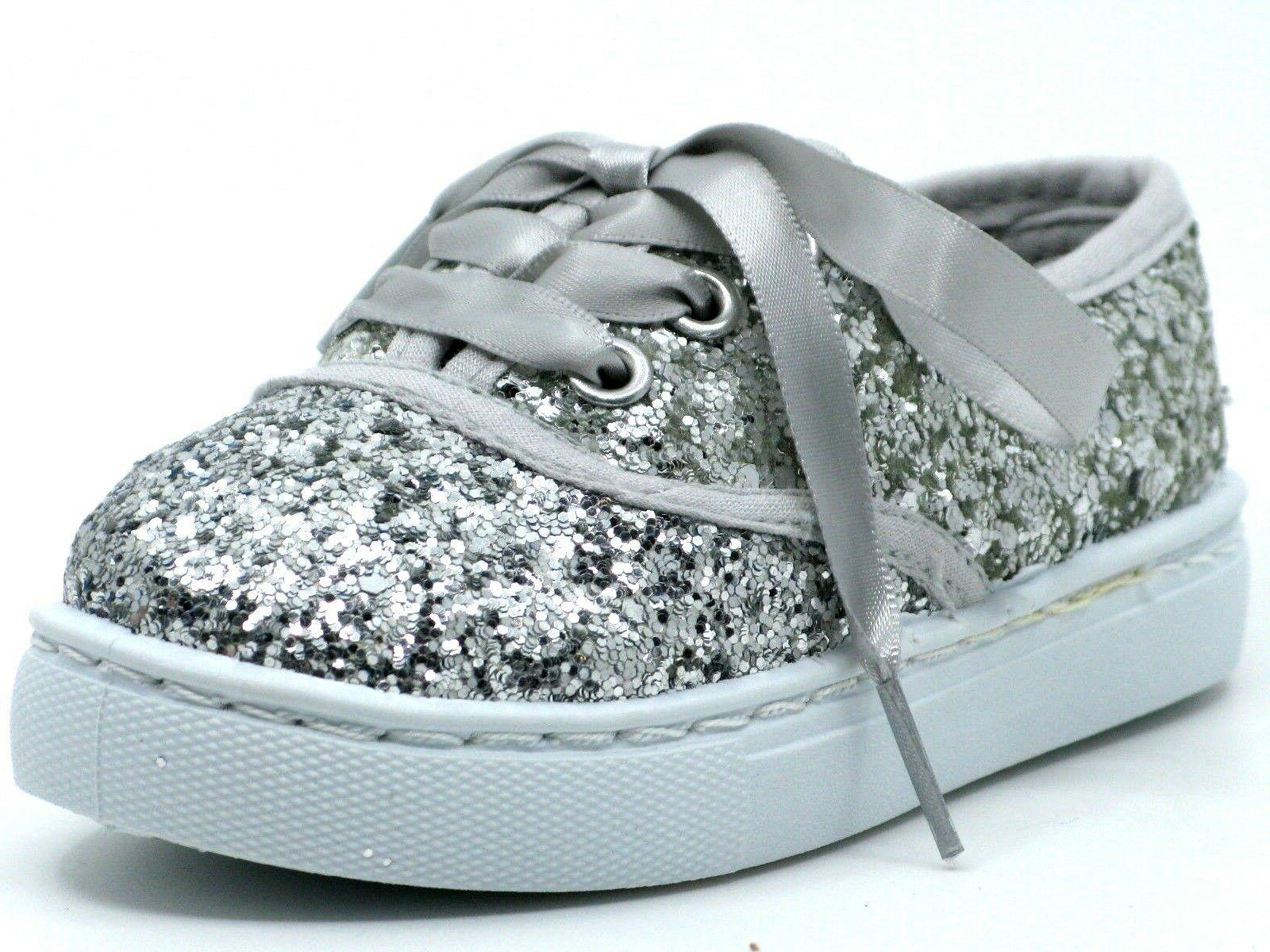 Baby Toddler Glitter Lace Up Fashion Casual Sneakers Sz 6 -11