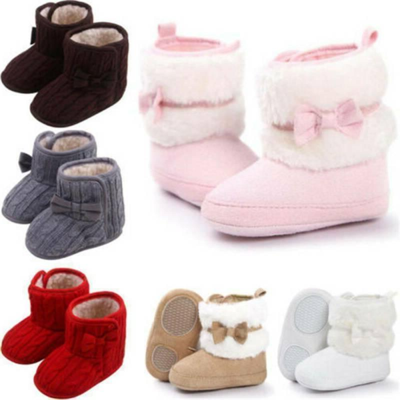 Infant Baby Cotton Knit Boots Fur Soft Crib