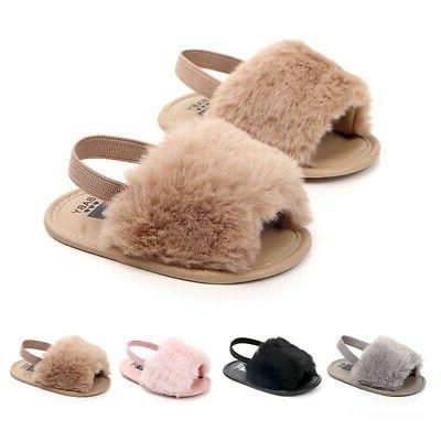 0-18M Newborn Baby Girl Plush Sole Faux Slippers Sandals
