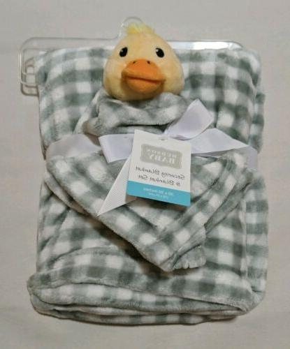 plaid gray baby blanket w plush duck