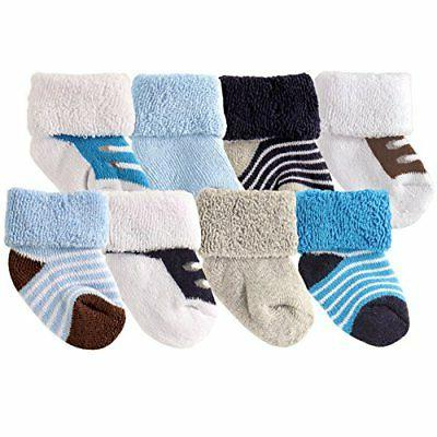 Luvable Friends Unisex 8 Pack Newborn Socks, Blue Shoes, 0-6
