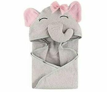 unisex baby animal face hooded towel blue