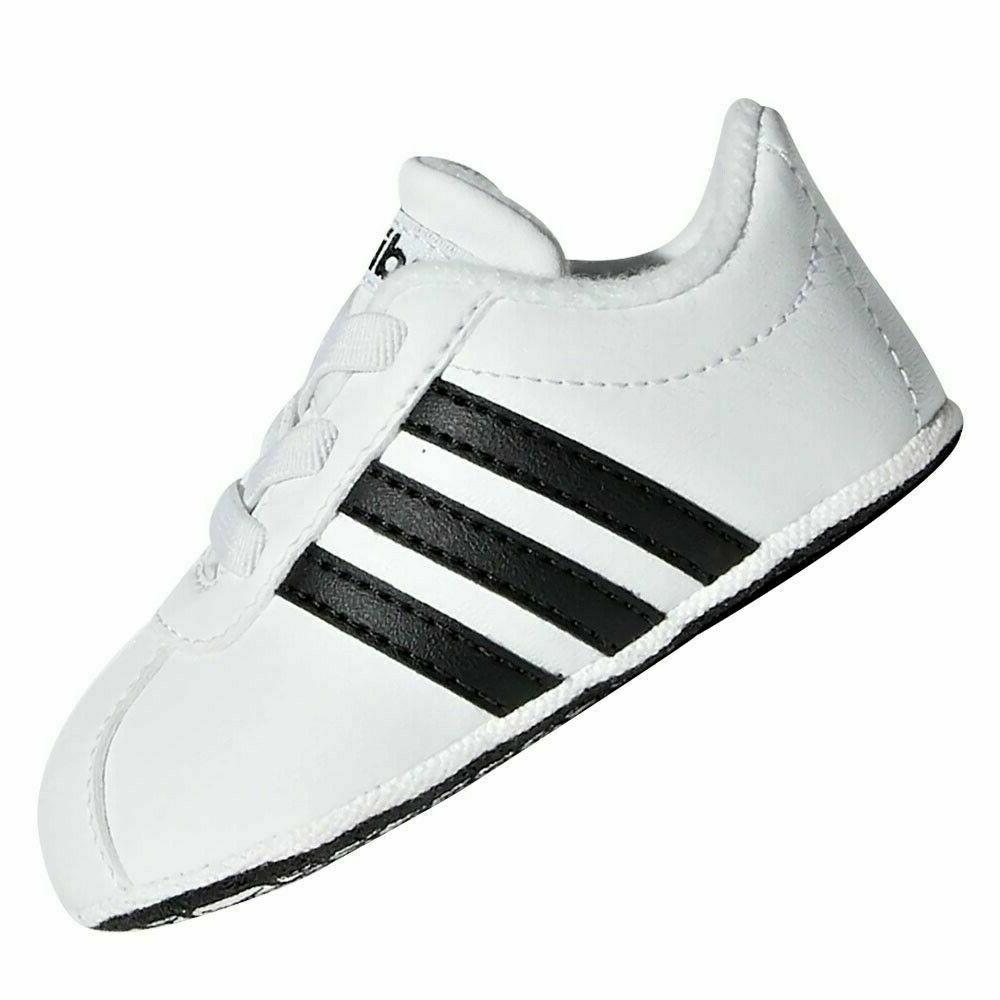 adidas VL Court 2.0 Baby Soft Leather Shoes Boy's New
