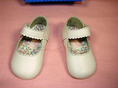 Gerber White Mary Jane Infant Baby Leather Soft Sole Size ~ New