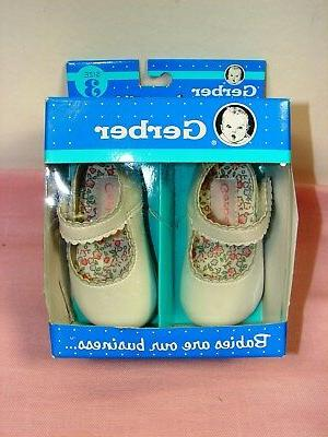 Gerber White Jane Infant Soft Sole Size 3 ~