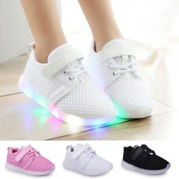 LED Baby Boys Girls Shoes Kids Light Up Luminous Trainers Sp