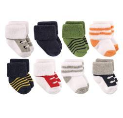 LUVABLE FRIENDS BABY BOYS 8 PACK NEWBORN SOCKS 0-6 MONTHS AT