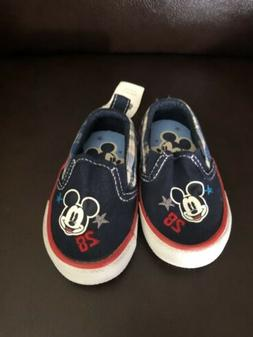 Disney Mickey Mouse Baby Boy Slip On Shoes 0-6 Months Red/Wh