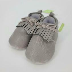 Hudson Baby Moccasin Booties, Gray, Size 0.0