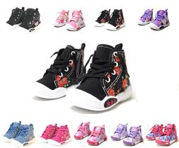 New Adorable Baby Toddler Girls Canvas High Tops Lace Up Sho