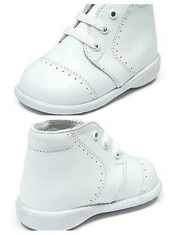 New Baby Boy White Leather High Top Walk shoes with Laces Ma