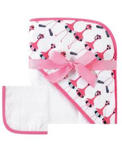 new hooded towel and washcloth set pink