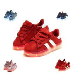New Light Up LED Shoes For Baby Toddler Girls Or Boys Faux S