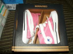 NEW NIB Converse Pink White Baby Infant Girl Crib Shoes SIZE