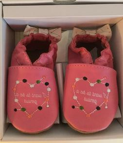 NEW ROBEEZ GIRLS' INFANT SOFT SHOES BOOTIES PINK SZ 0-6 MONT