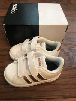 NEW Toddler Adidas Baseline CMF INF Shoes White Copper 3 Str