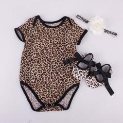 Newborn Baby Girl Romper Jumpsuit+Shoe+Hairband 3Pcs Outfits