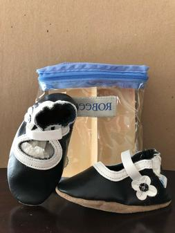 NIB! ROBEEZ Classic Black Mary Jane  Baby Shoes/Booties 6-1