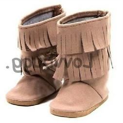"Best Native Indian Moccasins Fringe Boots for 18"" American G"