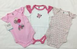 Nwt Hudson Baby Girls Kitty 3pc Bodysuits Size 0-3 Months