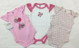 Nwt Hudson Baby Girls Kitty 3pc Bodysuits Size 6-9 Months