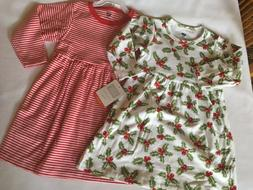 NWT HUDSON BABY Red Stripe & Holly Print Two Dress Set Girls