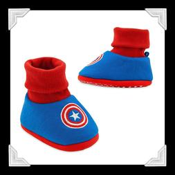 """NWT DISNEY STORE"""" BABY BOY CAPTAIN AMERICA  BOOTIE SLIPPERS"""