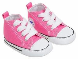 Converse Pink White Baby Infant Girl Crib Shoes New Born All