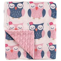 Hudson Baby Printed Mink Blanket with Dotted Backing, Owls,