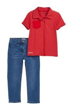Hudson Red Blue Baby Boy's Size 2T Pocket Polo Shirt Jeans O