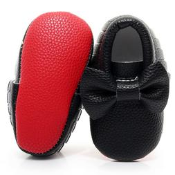 Red Bottom soled Big bow baby moccasin first walkers toddler