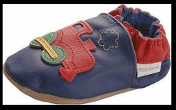 Robeez SHOES sz 18 - 24 mos Train Blue Red Leather