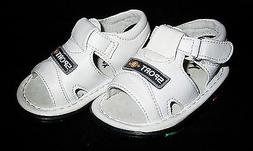 Shoes Toddler Sandals White Leather like Uppers Rubber Soles