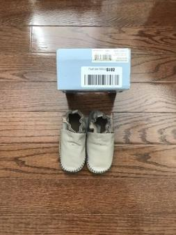 Robeez Soft Leather Baby Boys Slip On Grey Crib Shoes Size 1