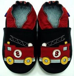 soft sole leather baby boy first walking shoes fire truck bl