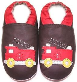 soft sole leather baby boy first walking shoes fire truck br