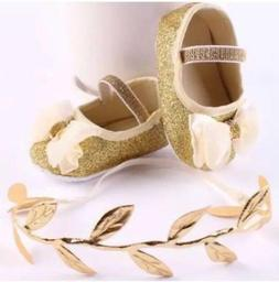 Sparkled Gold Fashion Dress Shoes / Cream Bow Accent, Baby/