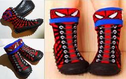 Spiderman Baby Toddler 2 Ways Wear Boots Shoes Sock W Soft R