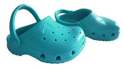"""Teal Blue Krocs Shoes for 18"""" American Girl & Bitty Baby Dol"""