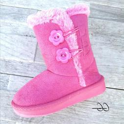 Toddler baby girls faux fur suede boots shoes 5,6,8 Run Larg
